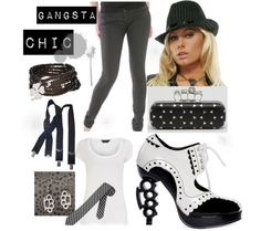 """Black and White Pinstripe Gangster Theme Outfit"" by costumelicious on Polyvore. A sexy gangster-themed outfit great for everyday wear.  Shoes and hat available from our store at www.costumelicious.com!    #Gangster #Gangsta"