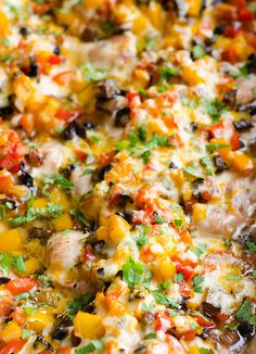 Baked Chicken with Peppers and Mushrooms is a 30 minute 5 ingredient dinner recipe with chicken, peppers, mushrooms, onion and cheese. | ifoodreal.com