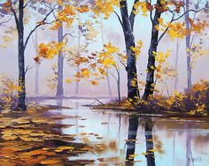 LARGE OIL Painting, autumn trees Painting, Fall paintings, Impressionist Art deco by Graham gercken Fall Tree Painting, Oil Painting Frames, Oil Paintings, Painting Art, Lake Painting, Painting Abstract, Autumn Scenery, Autumn Trees, Autumn Lake