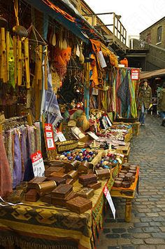 Camden Market - a must visit for clothes, jewellery, bags, gifts, food and music.