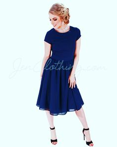 """Lucy"" Chiffon Modest Dress in Navy Blue"