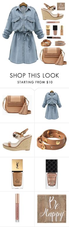 """Be happy in denim"" by puljarevic ❤ liked on Polyvore featuring Kate Spade, WithChic, Tory Burch, Estée Lauder, Yves Saint Laurent, Gucci, Kevyn Aucoin, Belle Maison, NYX and denim"