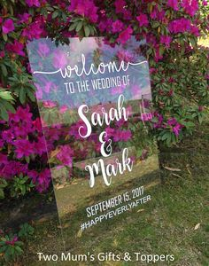 Our Custom/Personalised Wedding Welcome Signs are a beautiful way to greet your guests. These gorgeous signs are made from high quality acrylic (aka clear Perspex). They are 60x90cm in size (4.5mm thick), and can be presented in portrait or landscape orientation. They look