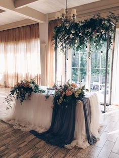 Top 8 Striking Navy Blue Wedding Color Palettes for 2019 Fall---navy and green welcome table with chiffon cover and greenery chandelier Wedding Ceremony Ideas, Wedding Scene, Wedding Church, Wedding Flowers, Wedding Chairs, Wedding Table, Party Wedding, Wedding Bride, Wedding Welcome Table