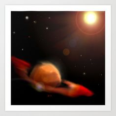 Space & Planet Art Print by Stefano Rimoldi - $21.84 Space Planets, Northern Lights, Celestial, Art Prints, Nature, Travel, Outdoor, Art Impressions, Outdoors