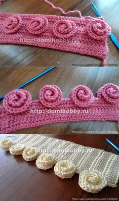 Вязание объемных розочек крючком. Crochet Boarders, Crochet Stitches Patterns, Crochet Designs, Knitting Designs, Knitting Patterns, Crochet Cord, Crochet Lace, Bind Off Knitting, Knitting Baby Girl