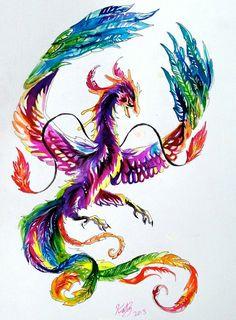 Watercolor Rainbow Phoenix