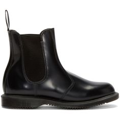 Dr. Martens Black Flora Chelsea Boots ($140) ❤ liked on Polyvore featuring shoes, boots, ankle booties, dr. martens, black, round toe booties, chelsea bootie, black ankle booties and rubber sole boots
