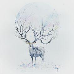 """regram @jongkie Late post """"WINTER"""" Watercolor on watercolor paper size 42,0x59,4 cm #watercolor #watercolour #stag #deer #winter #art #artwork by #jongkie"""