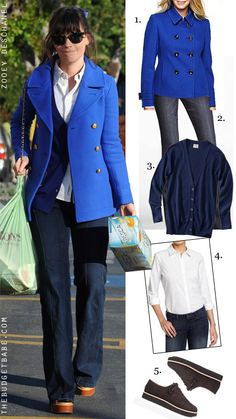 Dress by Number: Zooey Deschanel's Blue Peacoat and Platforms - The Budget Babe
