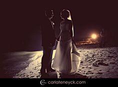 night beach wedding photo
