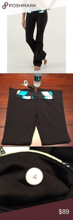Lululemon Slim Groove Pants, Size 4 Lululemon Slim Groove Pants, Size 4  The waistband is green, yellow, various shades of blue, and black. These are also reversible to a solid black. Inseam measures 30.25 inches. Super cute and in great condition. ☺️ lululemon athletica Pants