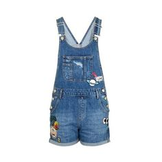 TopShop Moto Badge Short Dungaree (825 UYU) ❤ liked on Polyvore featuring jumpsuits, rompers, mid stone, vintage rompers, blue rompers, short rompers and topshop rompers