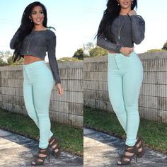 High waisted jeans cropped sweater