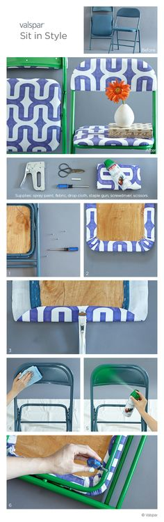 1. Unscrew cushion. 2. Stretch fabric so the edges wrap under the bottom. 3. Staple fabric to the chair. 4. Wide down frame. 5. Spray paint the frame*. 6. Reattach cushion. *Follow instructions on can