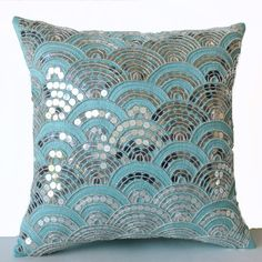 Teal Pillows Embroidered Waves -Sashiko Pillow Cover -Cushion Zipper -Decorative Pillows -Gift -Wedding -Anniversary -Gift for Her -16x16