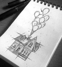 Drawing Of House, Painting & Drawing, Tumblr Drawings, Easy Drawings, Tattoo Drawings, Pencil Art, Pencil Drawings, Drawing Faces, Disney Drawings