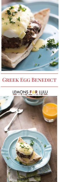 Breakfast is served!  Thick lamb patties, pita bread, poached eggs and a simple blender hollandaise sauce makes this Greek Egg Benedict recipe an unforgettable way to start the day