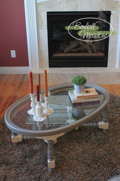 Vintage Glass Oval Coffee Table Painted with Chalk Paint