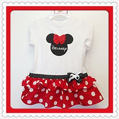 Sparkle Bow Minnie Mouse Boutique Dress with Disney Font Name Personalization- Minnie Mouse Birthday Dress- Minnie Mouse Dress. $35.00, via Etsy.