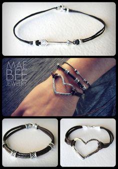 New Fall #bracelets from JewelryByMaeBee on #Etsy! #arrow #heart #leather #sterling https://www.etsy.com/shop/JewelryByMaeBee