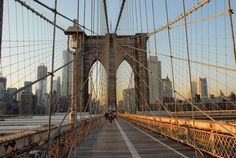Up The Brooklyn Bridge, Urban Landscape Photography, Pictures of New York, Deborah Julian. Click now and get 10% off everything at Deborah Julian Art by using Pinterest Exclusive Discount Code PIN10.