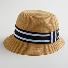 Brown Bucket Hat with Black Striped Band perfect for summer days!