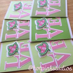 dc75a7a98c5f Love AKA Notecards by HotPinkStudios on Etsy College Sorority