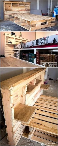 Wooden Pallet Furniture diy pallet bed - Recycling anything and using it for the creation of any new item always looks interesting and useful. But whenever we plan to use the recycled. Wood Pallet Beds, Diy Pallet Bed, Wooden Pallet Projects, Wooden Pallet Furniture, Pallet Crafts, Diy Furniture Projects, Diy Bed, Wooden Pallets, Pallet Ideas Bedroom