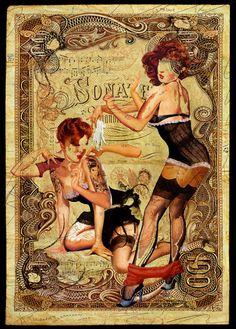 [ION Magazine] Handiendan makes wonderful mixed media artworks of pin-up girls.