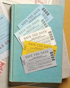 """See the """"Destination Wedding Save-the-Date"""" in our Wedding Save-the-Date Ideas gallery Pique your guests' interest about a destination wedding location and get them excited to hop on a plane with this design inspired by vintage travel ephemera from Paper+Cup Design."""