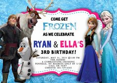 Frozen Birthday Invitation - with or without photo on Etsy, $12.00