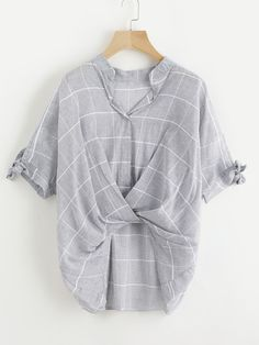 Window Pane Plaid Tie Sleeve Drape Front Blouse -SheIn(Sheinside)