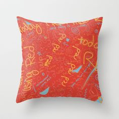 red Throw Pillow by emmaleerose - $20.00