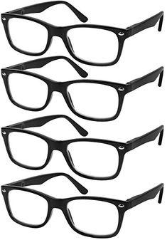 60b54c5ec8 Reading Glasses Set of 4 Black Quality Readers Spring Hinge Glasses for  Reading for Men and