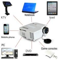 Mini Multimedia Projector Home Cinema Theater For PC/Laptop/iPhone/iPad/DVD wxfA