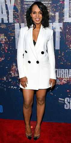 Last Night's Look: Love It or Leave It? | KERRY WASHINGTON | in a white Adam Lippes tuxedo mini dress with a black lace bra and Jimmy Choo pumps at the SNL 40th Anniversary Celebration in N.Y.C.