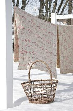 reminds me...of my mom hanging laundry outside in the wintertime, letting it freeze-dry, then finishing the drying process inside the house by hanging everything all over.