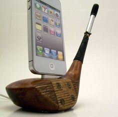 The Wooden Golf Club iPhone Dock is a Sporting Throwback from the 1930s #topbabytrends #trendykids trendhunter.com