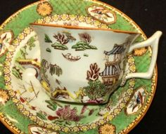 ANTIQUE-GL-ASHWORTH-ENGLAND-BIRD-TEMPLE-DEMI-TEA-CUP-AND-SAUCER-SET