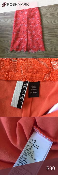 Orange lace skirt by top shop sz 2 Gorgeous with slit in back Topshop Skirts Midi