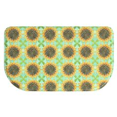 Printed Sunflower Tiles kitchen rug by Bacova -