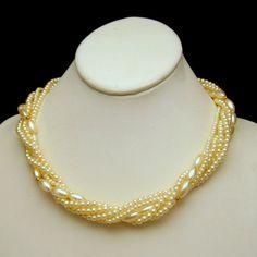 Faux Pearls 5 Multi Strands Vintage Torsade Style Necklace Bridal Classic #MyClassicJewelry