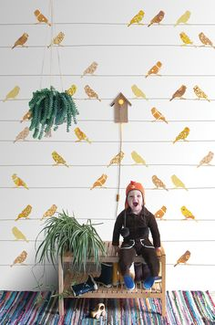 Wall Print collection by INKE IK2032 (vogels geel)