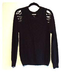 Nasty gal cold shoulder black knit sweater M/L Nasty gal cold shoulder black knit sweater M/L crisscross edgy shoulder design. Cotton candy Sweaters Crew & Scoop Necks