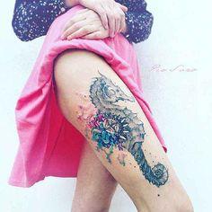 Tattoo, Seepferdchen, Fantasy