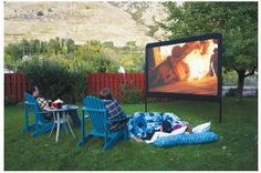 Awesome Outdoor Landscape Movie Screens.  Build your own or buy one.  Has links to do both!
