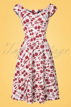 Vintage Chic for TopVintage ~ Emma Cherry Swing Dress in White Swing Rock, Cherry Baby, Stunning Redhead, Swing Skirt, Models, Retro Look, White Fabrics, Fitted Bodice, Elegant