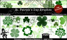 Free Saint Patrick's Day Photoshop Brushes - Shamrocks, Clovers, Celtic Designs, Leprechauns And A Pot Of Gold