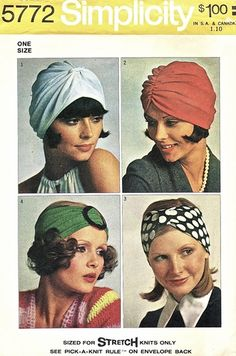 Simplicity Pattern 5772 Vintage 70's Collection of Knit Hats - Full and Half…